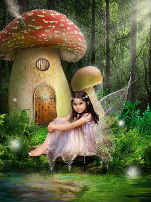 Fairy outside toadstool